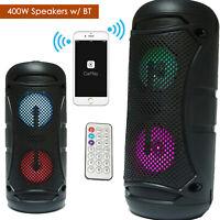 "NEW Portable Dual 4"" Bluetooth DJ Wireless Speaker 400W PA Loudspeaker - Black"