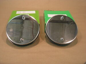 "MG Chrome Pancake Air Filters pair for 1-1/2"" SU Carbs for MGA MGB new"