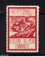 France French Anti-Communism Stamp Label Snake Resistons Au Peril Communiste