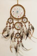 NEW 5 RING NATIVE DREAM CATCHER IN BROWN BEADS MAIN RING 12CM / dcbead12triDBR