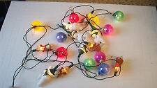 "RARE NOMA REAL GLASS PEARL CHRISTMAS LIGHTS AND ADDED FIGURES 2"" BALLS"