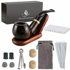 Joyoldelf Wooden Tobacco Smoking Pipe Set Bent Ebony with Stand Holder, Accessor