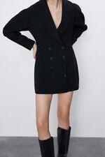 Zara Negro Vestido Con Amplio Cuello Chal mangas Talla XS