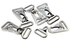 Karabinerhaken Nickel mit D-Ring (Gegenstück) für Bandbreite 25mm, 5 Stück