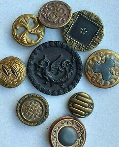 Lot of 9 antique metal buttons picture cut steel tinted deco nouveau