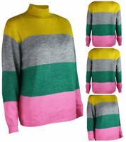 Womens Bonmarche Yellow Grey Pink Colour Block Jumper Casual Warm winter sweater