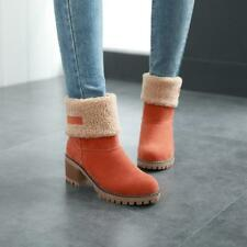 Womens Lady chunky heel Fleece Lining Cuffed pull on Mid Calf Boots Casual Shoes