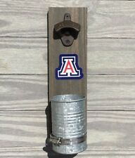 Arizona Wildcats Wall mount bottle cap opener Stained wood & galvanized cup