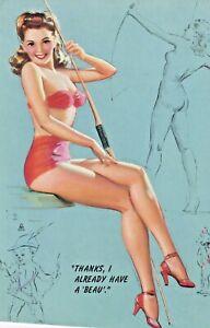 "K O MUNSON ""thanks i already have a beau-1940s art PIN-UP/CHEESECAKE ink blotter"