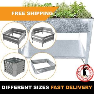 Galvanized Raised Garden Bed Metal Planter Box Grow Vegetable Flower Stands