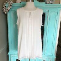 CAbi Adore White Sleeveless Blouse Top Style 3095 Women Size Medium M Relaxed