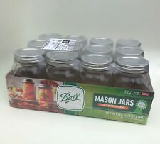 Ball, Glass Mason Jars with Lids & Bands, Wide Mouth, Clear, 16 oz, 12 Count