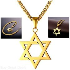 U7 Jewish Jewelry Magen Star of David Pendant Necklace Women Men Chain 18K Gold
