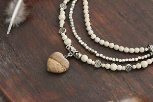 Beautiful Handmade 3 Layer Silver & White Turquoise &Jasper Heart Charm Necklace