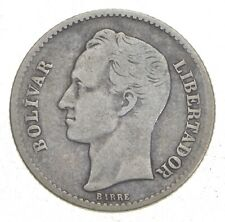 SILVER Roughly Size of Quarter 1936 Venezuela 1 Bolivar World Silver Coin *056