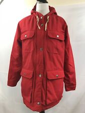 WOOLRICH Womens Red Winter Wool Insulated Hooded Jacket Coat Size L