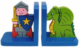 Dragon And Knight Wooden Bookends - Hand Made In Uk