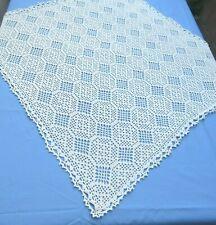 Vintage Hand Crochet Lace Tablecloth 40 Square Beige Cotton