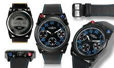 NEW Saxon Sassen 10068 Men's Bull Head Chronograph Blue/Red Accents Casual Watch