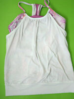 Ivivva Girls Double Dutch Tank Top  Size 10 Shelf Bra White Pink Athletic Active