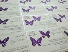 NEW Day/Evening Postcard Wedding Invitations - glitter sparkly butterflies *