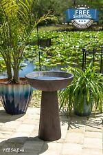 Garden Bird Bath Outdoor Wood Grain Décor Pedestal Birdbath Brown Concrete Yard