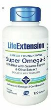 Life Extension Super Omega-3 EPA/DHA with Sesame Lignans & Olive 120 soft gels
