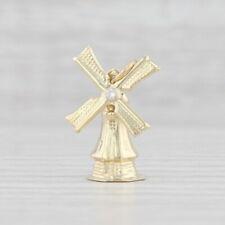 Diamond Accented Windmill Charm 14k Yellow Gold Souvenir Pendant Moves