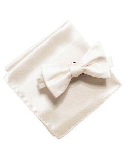 Alfani Mens Satin Solid Bow Tie & Pocket Square Set Ivory OS