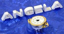 9 Pin White Ceramic And Gold Noval Top Chassis Mount Tube Sockets 12AX7, EL84
