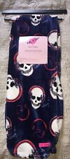 Betsey Johnson Throw Blanket Plush 50x60 Heart Skulls Headphones Death Love
