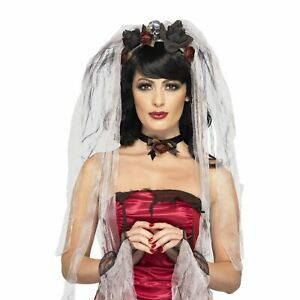 Gothic Bride Kit Black Red Rose and Skull Veil with Choker Gloves Fancy Dress