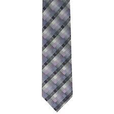 "Roberto Vellini Men's 100% Silk Checks Neck Tie Gray Purple 3 7/8"" x 58"""