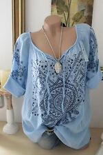 ITALIA Tunica Camicetta vintage etnico camicia Boho blu OVERSIZE Hippie IBIZA 42