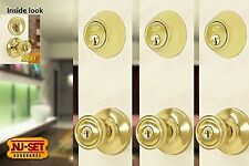 NuSet Contractor Combo Lockset, Keyed Alike Entries and Deadbolts, Set of 3