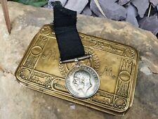 More details for ww1 british war medal c. paine manchester regiment kia coldhurst + 1914 xmas tin