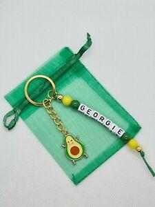 Personalised cute avocado Keyring, vegan gifts, avocado  bag name tag, healthy