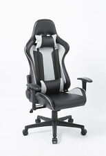 Office/Gaming Chair in Black/Grey with 1D Adjustable Armrest & Headrest and Lumb