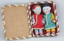"Two Antique 3.5"" All Bisque Asian Dolls-Woven Straw Case-Japan"