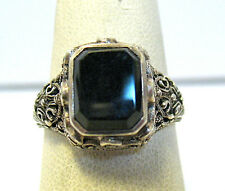 STERLING SILVER ONYX FILIGREE RING VICTORIAN STYLE SIZE 7.75   4 GRAM SYBOLL