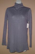 Juniors Size Medium Long Sleeve Fashion Solid Gray Turtleneck Shirt Top