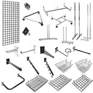 GRID WALL MESH CHROME RETAIL SHOP DISPLAY PANEL ACCESSORY HOOK ARMS