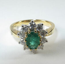 18K Yellow/White Gold Diamond Emerald Engagement Cluster Ring O/55 £2750 NEW