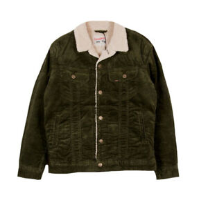 MENS LEE RIDER NEAT REGULAR FIT CHUNKY SHERPA LINED CORD JACKET - FOREST GREEN