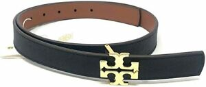 "TORY BURCH 1"" BLACK TAN LEATHER GOLD SKINNY REVERSIBLE SMALL WOMEN'S BELT"