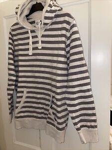 Fat Face Ladies Khaki Grey And Cream striped Hoodie sweatshirt Size 16