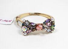 BETSEY JOHNSON Sweet Shop Multi Crystal Bow Gold Tone Hinged Bangle Bracelet