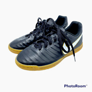 Nike Tiempo X Youth 1.5 Indoor Soccer Shoes Cleats Black With Gum Soles