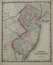 Original 1861 Johnson & Browning Map NEW JERSEY Stagecoach Roads Railways Canals