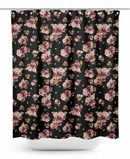 S4Sassy Black Peony & Buttercup Floral Printed Bathroom Curtain-pXI